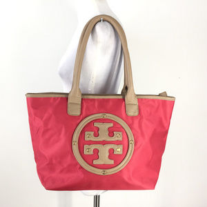 Tory Burch Tote Red brown Logo Shoulder Bag Travel